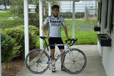 Stephen McKenna in his new cycling outfit